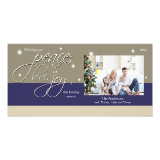 Peace Love Joy Holiday Photocard (sapphire) Card