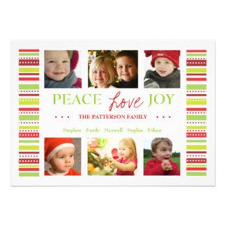 Peace Love Joy Holiday Stripes Photo Card Greeting