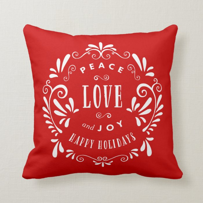 Joy Throw Pillow : Peace Love & Joy Holiday Throw Pillow Zazzle