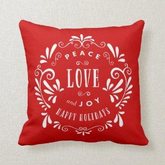 Peace Love & Joy | Holiday Throw Pillow