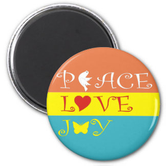 Peace Love Joy 2 Inch Round Magnet