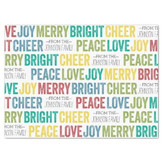 """Peace Love Joy Merry Cheer with custom Family Name 17"""" X 23"""" Tissue Paper"""