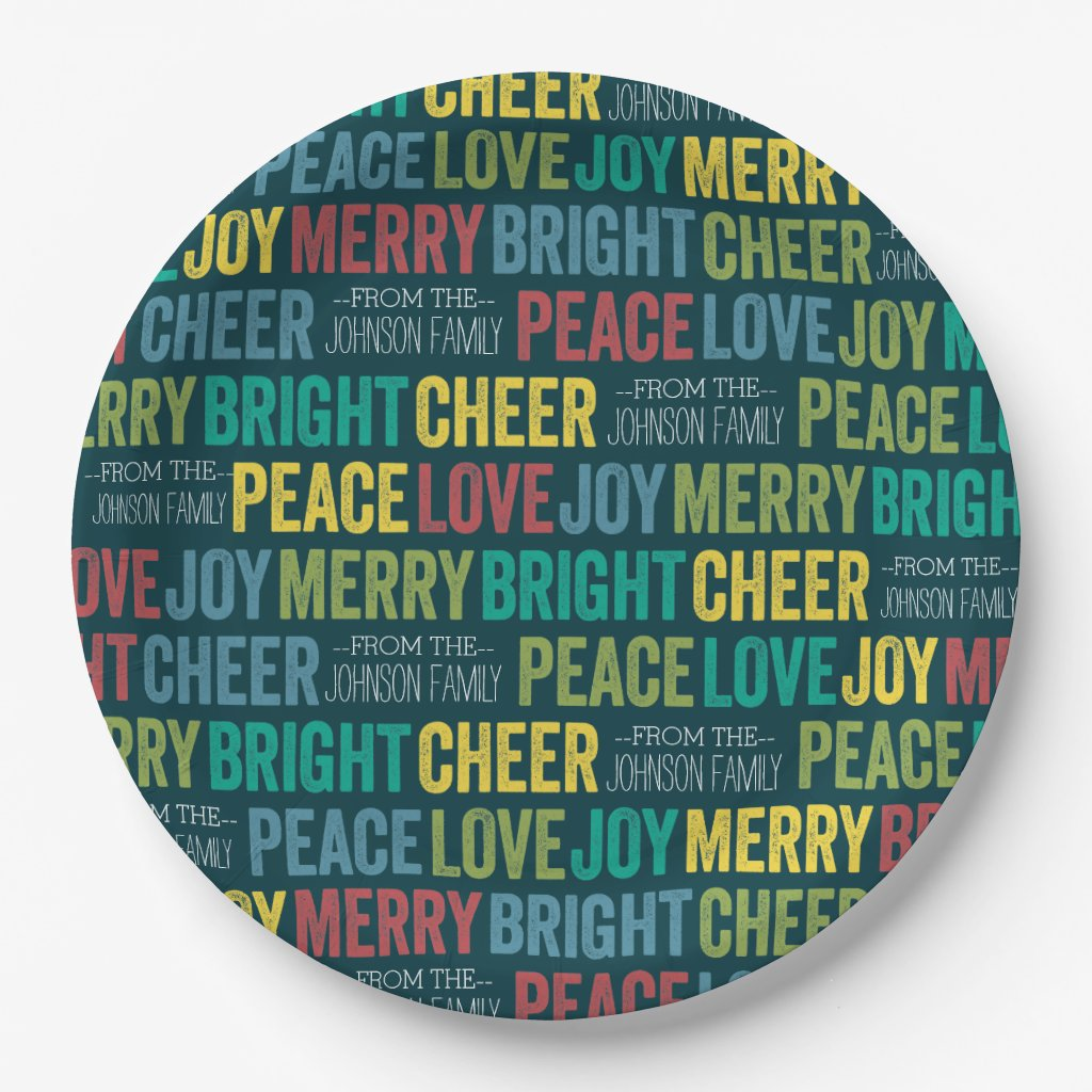 Peace Love Joy Merry Cheer with custom Family Name Paper Plate