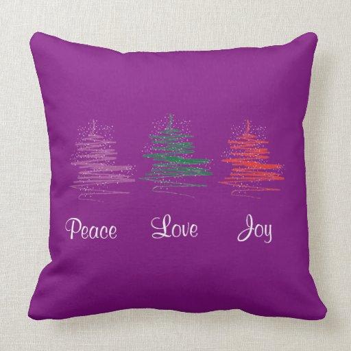 Joy Christmas Throw Pillows : Peace, Love, Joy, Merry Christmas Modern Purple Throw Pillow Zazzle