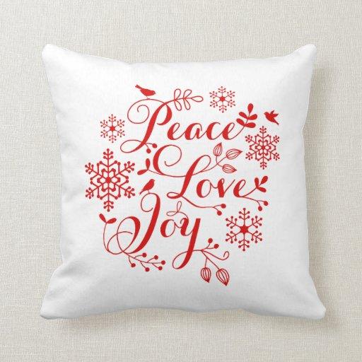 Peace, Love, Joy, Merry Christmas Throw Pillow Zazzle