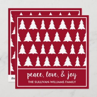 Peace Love Joy Modern Burgundy White Tree Pattern Holiday Card