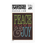 Peace Love Joy Modern Mocha Holiday Stamp