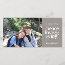 Peace Love & Joy - Modern Photo Card