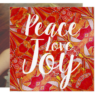 Peace Love Joy Orange Red Angels Photo Card