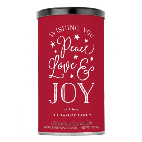 Peace Love  Joy  Personalized Holiday Hot Chocolate Drink Mix