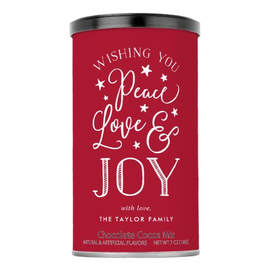 Peace, Love & Joy | Personalized Holiday Hot Chocolate Drink Mix