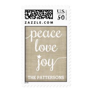 Peace Love Joy Personalized Postage at Zazzle