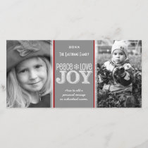 Peace Love & Joy - Photo Card Gray Red