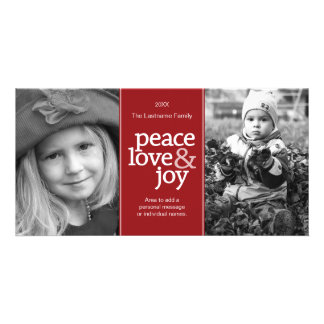 Peace Love & Joy - Photo Card Red White