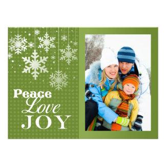 Peace Love Joy Photo Christmas Flat Card Personalized Invite