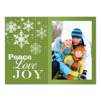 "Peace Love Joy Photo Christmas Flat Card 6.5"" X 8.75"" Invitation Card"