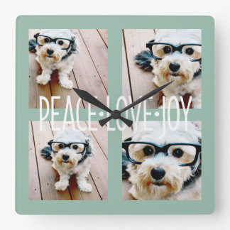 Peace Love Joy Photo Collage Holiday Greeting Square Wall Clock