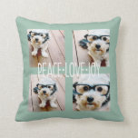 Peace Love Joy Photo Collage Holiday Greeting Throw Pillow