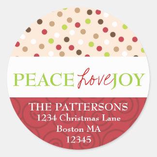 Peace Love Joy Polka Dots Address Label Stickers