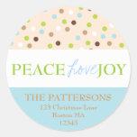 Peace Love Joy Polka Dots in Blue Round Sticker