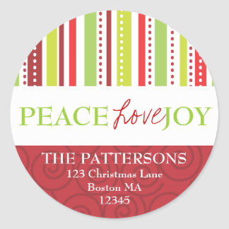 Peace Love Joy Polka Dots & Stripes Address Label