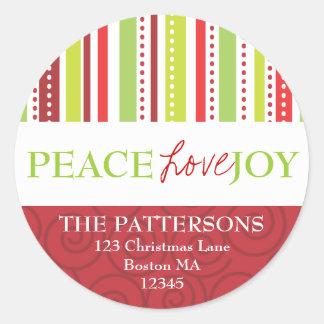 Peace Love Joy Polka Dots & Stripes Address Label Classic Round Sticker