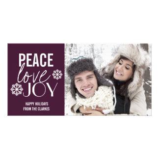 Peace Love Joy Purple Snow Holiday Photo Cards