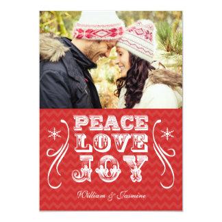 PEACE LOVE JOY Red Chevron Holiday Flat Card