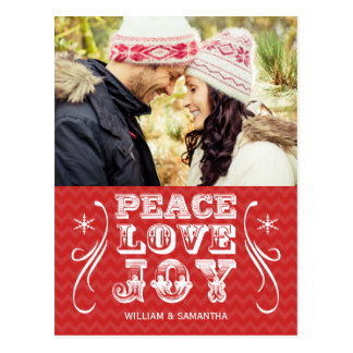 Peace Love Joy Red Chevron Holiday Postcard