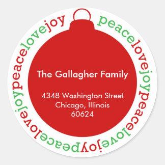 Peace love joy red custom Christmas address label Classic Round Sticker