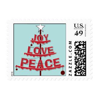 Peace, Love, Joy - Red & Light Blue Postage
