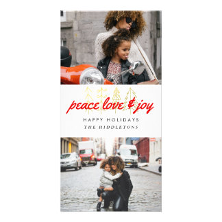 Peace Love & Joy Red Script Two Photos Card