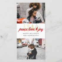 Peace Love & Joy Red Script Two Photos Holiday Card
