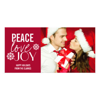 Peace Love Joy Red Snow Holiday Photo Cards