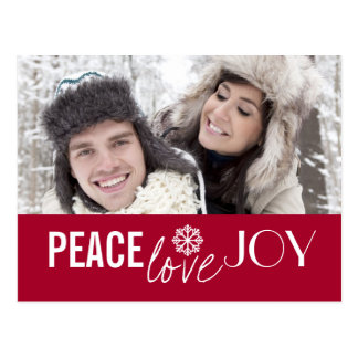 Peace Love Joy Red Snowflake Holiday Postcards