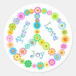 Peace Love Joy Round Stickers