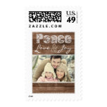 Peace Love & Joy Rustic Lace Custom Photo Postage Stamp