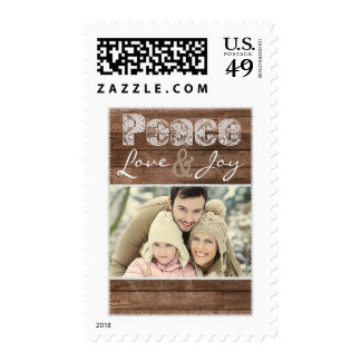 Peace Love & Joy Rustic Lace Custom Photo Stamps