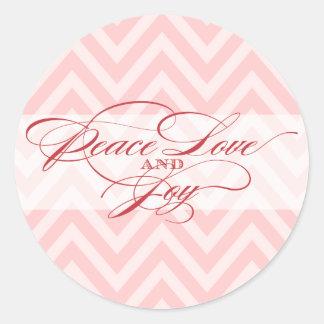 Peace Love Joy     Script Holiday Envelope Seal Classic Round Sticker