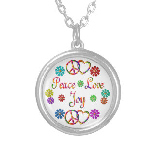 Peace Love Joy Silver Plated Necklace