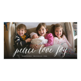 Peace Love Joy Simple Script Holiday Photo Card
