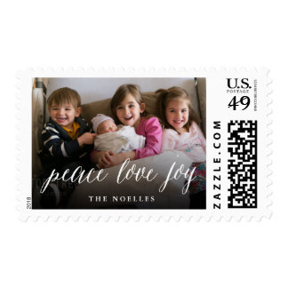 Peace Love Joy Simple Script Holiday Photo Stamps