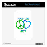 Peace Love JOY Skins For iPod Touch 4G