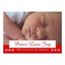 Peace Love Joy snowflake modern Christmas photo Card