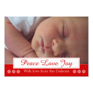 Peace Love Joy snowflake modern Christmas photo 5x7 Paper Invitation Card