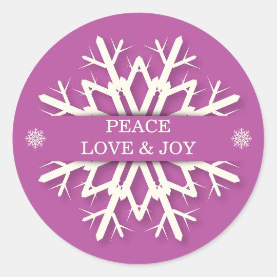 Peace Love & Joy Snowflake Stickers Envelope Seals