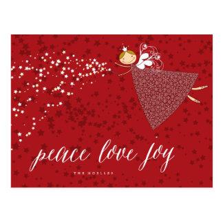 Peace Love Joy Snowflakes Christmas Fairy Postcard
