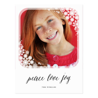 Peace Love Joy Snowflakes Frame Photo Postcard