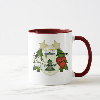 Peace Love Joy Snowman Mug