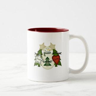 Peace Love Joy Snowman Two-Tone Coffee Mug